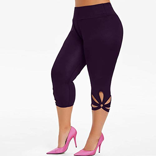Buetory Womens High Waist Yoga Pants Capris Plus Size Workout Leggings Hollow Out Sports Running Tights Cropped Pants(Purple,XX-Large)