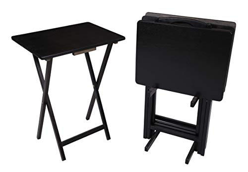 5 Piece Tray Table Set Folding Wood TV Game Snack Dinner Couch Laptop Stand 1 Black