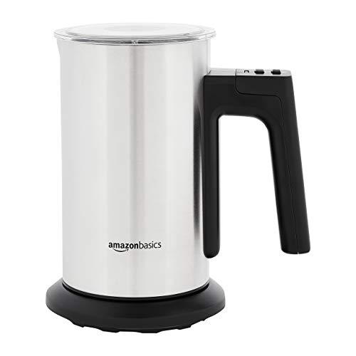 AmazonBasics – Espumador y calentador de leche eléctrico, color plateado