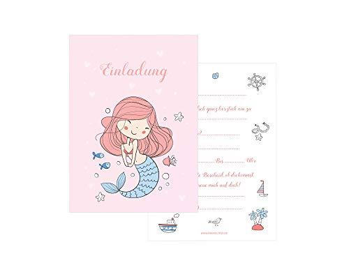 Friendly Fox Meerjungfrau Mädchen Einladung - 12 Meerjungfrau Einladungskarten zum Geburtstag Kinder Mädchen - Einladung Unterwasserwelt - Mädchen Geburtstag Einladung inkl. passende Umschläge