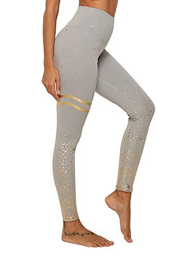 ArcherWlh Leggings Push Up,2019 Amazon Nuevo Estiramiento de Cintura Alta Estampado en Caliente Pantalones de Yoga Impresos Fitness Leggings Deportivos Delgados Mujeres-Oro Gris_Metro