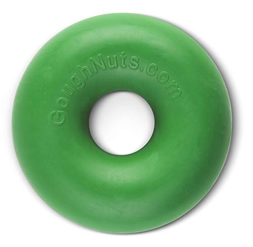 Goughnuts Original Medium Dog Chew Toy Ring for Aggressive Chewers from 30-70 Pounds in Green....