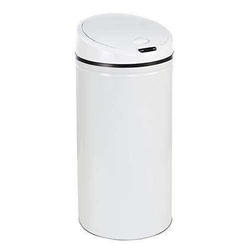 WIS 50L Poubelle Automatique Acier INOX pour Cuisine Salle Blanc
