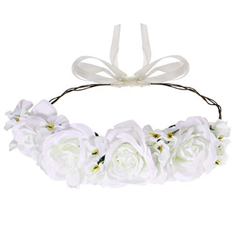 Lurrose White Flower Bandes De Cheveux White Rose Bandeau Floral Couronne Bandeau pour Cocktail Fête De Mariage Fête Plage