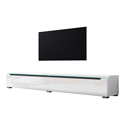 Selsey Meuble TV, Blanc Brillant, avec LED, 180 x 33 x 26,1