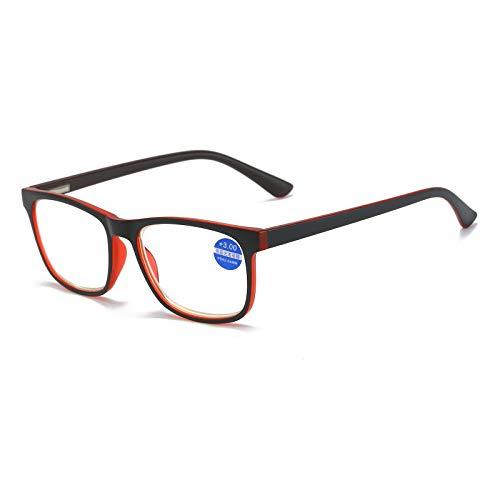 MMOWW Gafas de lectura anti-luz azul gafas de ordenador antifatiga de marco completo rectangulares neutrales y de moda, con bisagras de resorte (rojo,+1.5)