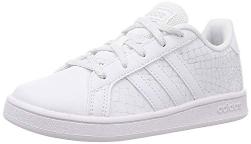 adidas Grand Court K, Scarpe da Tennis, Ftwr White/Ftwr White/Silver Met, 37 1/3 EU