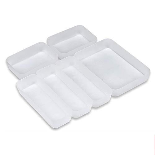 Towinle Schubladen Organizer 6-teiliges Set Ordnungssystem für Küche Büro Schminktisch Kosmetik Variabel Schubladen-Einteiler Trennsystem
