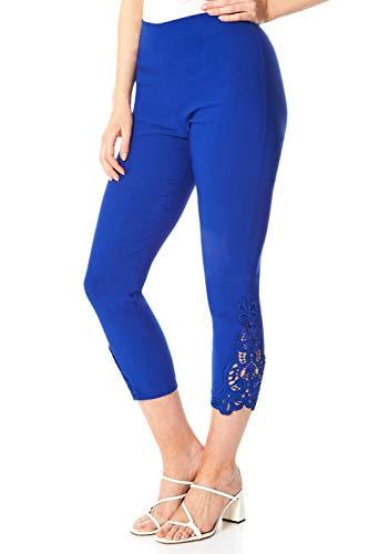 Roman Originals - Pantalones de encaje para mujer, diseño de bengalina, para mujer, casual, ocasiones especiales, entrevista, trabajo, fiesta, evento formal recortado