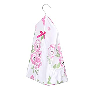 [Upgraded] TILLYOU Hanging Nursery Diaper Storage Organizer Portable Foldable Diaper Caddy Stacker with Side Pockets for Crib, Machine Washable and Roomy Space, DIY 3 Parts Included, Pink Flowers
