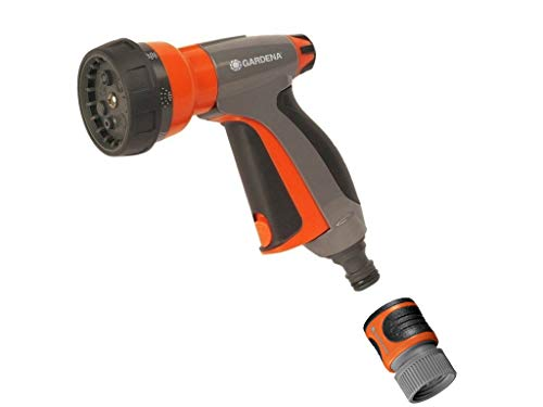 Gardena 32121 Control Metal Multi-Purpose 7-in-1 Spray Gun with Built in Flow Contro, Orange