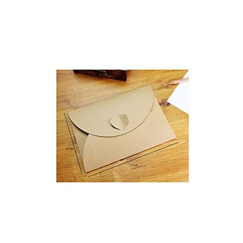 50 Stks/partij Handgemaakte hart Kraft Envelop Vintage Enveloppen Retro Stationery Set Ansichtkaart Photo Opslag Kerstmis Geschenkpakket Afmetingen (L x B x H):