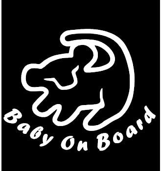 TAMZAM - Baby on Board Lion King Decal Vinyl Sticker White Cars Trucks Vans SUV Laptops Walls Glass Metal 5.5 inches