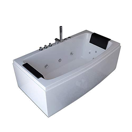 Home Deluxe – Bañera de hidromasaje – Noor Blanco con ducha de mano y masaje – Tamaño: 170 x 80 x 44 cm – Bañera para interior, Jacuzzi, 2 personas
