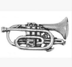Gift Boxed Pewter Music Musician Cornet Tie - Lapel Pin / Brooch / Badge