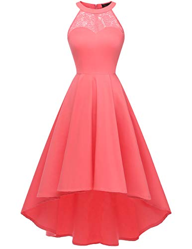 DRESSTELLS Damen 50er Vintage Rockabilly Kleid Neckholder Cocktailkleid Vokuhila Festliche Kleider für Hochzeit Coral S