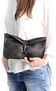 Clutch, pochette, borsetta, borsa a mano, clutch di pelle, in morbidissima pelle/nappa, nera. CRIS Clutch