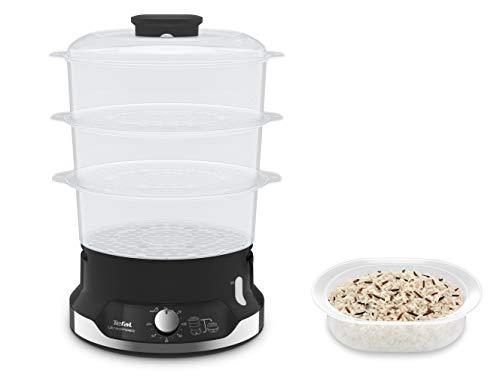Tefal UltraCompact VC2048 Vaporera eléctrica de 9 L, 800 W, tres bandejas independientes sin BPA, temporizador hasta 60 min, bol de arroz, cocción saludable, soporte para cocer huevos, compacta