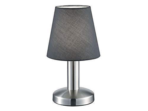 Kleine Trio Tischlampe mit 5W LED, Stoffschirm grau & Dimmer Touchfunktion