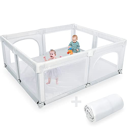 Baby Playpen and Play Yard, Extra Large Fence and Play Pens for Babies and Toddlers - Safe Activity Center, Playard and Play Area Indoor for Kids, Infants and Twins 6 Months + (with Anti-Slip Mat)