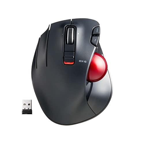 ELECOM 【Upgrade】 Left-Handed Wireless Thumb-Operated Trackball Mouse, Ergonomic Design, 6-Button Function with Smooth Tracking, Windows/Mac, Precision Optical Gaming Sensor, Red Ball (M-XT4DRBK-G)