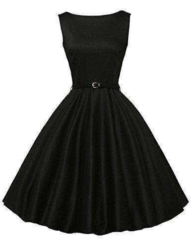 GRACE KARIN Black 1950's Dresses for Women Sleeveless Cotton XS F-13