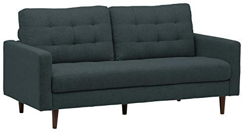 "Amazon Brand – Rivet Cove Mid-Century Modern Tufted Apartment Sofa, 72""W, Denim Blue - This charming sofa features a streamlined modern look, Mid-century inspired design touches and durable construction that stands up to daily life. Its simplicity coordinates with most décor styles, making it the perfect piece for any living room. 71.7""W x 33.9""D x 35.4""H Hardwood frame, beech wood legs, foam cushions and 100% polyester upholstery - sofas-couches, living-room-furniture, living-room - 31coNU2802L -"