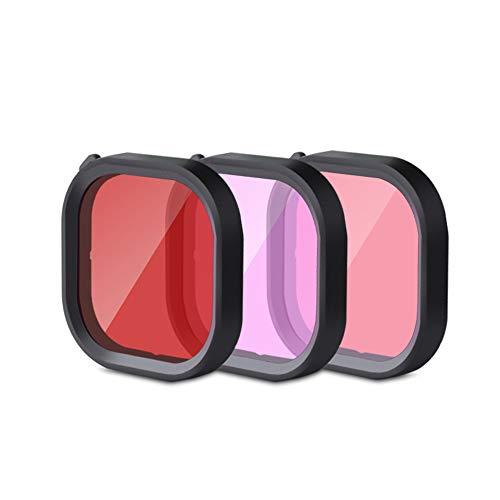 3 in 1 Snorkel Duiken Onderwater Rood/Roze/Paars Lens Filter in Zeewater & Zoetwater voor Waterdichte Officiële Behuizing van GoPro Hero 8 Zwart