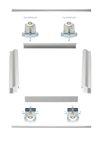 Möbelschiebetürbausatz inkl. Rahmentyp D, Beschläge für 2 Türen, Obere und untere Laufschiene in 2000 mm | Geeignet für Möbelkorpus gebundene Schiebetüren