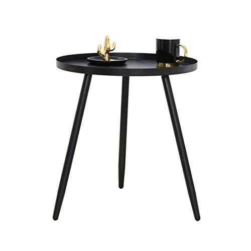 LWKBE Plateau en métal Moderne Fin Table Basse Accent Table, Canapé Petite Table Tables Rondes latérales pour extérieur et intérieur, Anti-Rouille et Table Snack étanche, Décoration d'intérieur,Noir