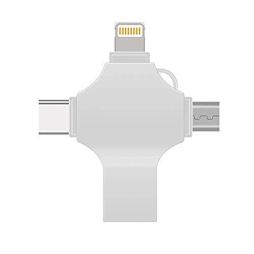 XLHJFDI Flash Drive 128 GB 4 en 1 USB 3.0 OTG multifunción U Disk Computer Mac Dispositivo de almacenamiento externo Pen Drive 8/16/32/64/128 GB (capacidad: 64 GB)