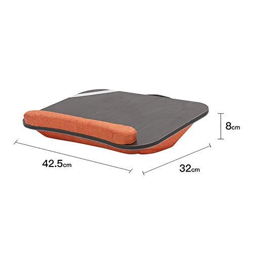 YAOJP Laptopkissen Für Bett Schaumpartikel Siesta Kissen Massivholz Betttablett Lapdesk Mit Tragegriff Für Autos Sofa Jobs Studium 42.5×32X8cm,Orange