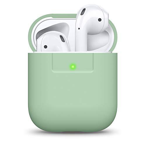 elago Silikonhülle Kompatibel mit AirPods Hülle 1 & 2 - Silicone Case, Unterstützt Kabelloses Laden, Stoßfeste Schutzhülle, Perfekter Sitz (Pastell Grün)
