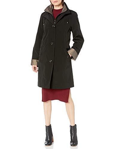 Gallery Women's 3/4 A Line Single Breasted Rain Coat, Black, Extra Large