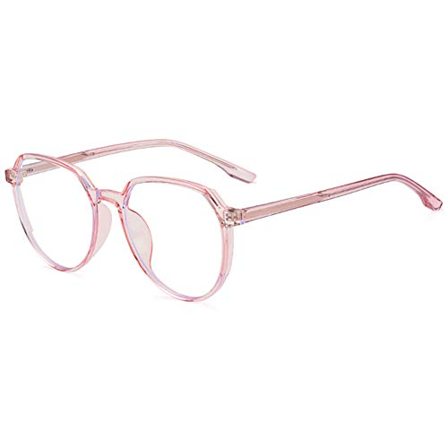 HQMGLASSES Gafas de Lectura ultraligeras TR con Montura Grande HD Anti-Azul, Lente de Resina asférica 1,56lupa Poligonal Retro dioptría de +1,0 a +3,0,Rosado,+1.0