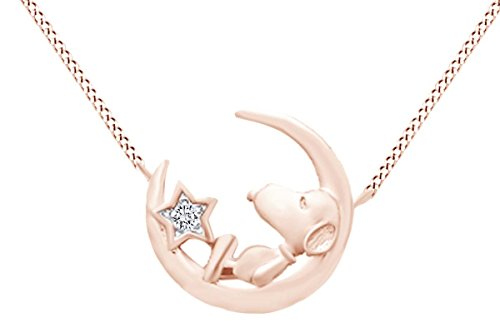 Round Cut White Natural Diamond Snoopy Star Moon Pendant In 925 Sterling Silver (0.02 cttw)