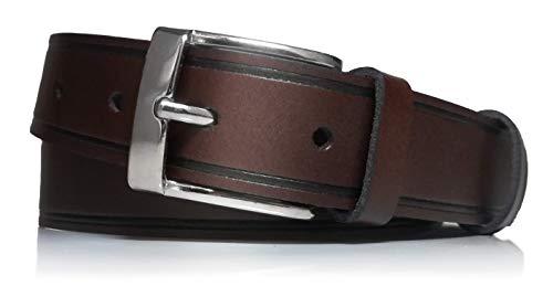 almela - Cinturón de hombre - Piel legitima - 3 cm de ancho - Cuero - Económico - 30mm - Hebilla níquel brillo (Marrón, 100)