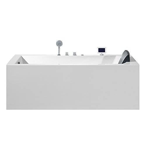 """ARIEL Platinum PW1547032LW1 Whirlpool Bathtub with Jets, 71"""" x 31.5"""" x 24.6"""" Inches Acrylic Rectangle Water Heater Hydro Massage Tub with Left Side Drain"""