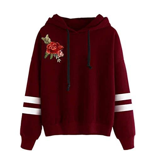 Hoodie Damen Sweatshirt Damen Elegant Lose Mode Bestickter Hoodie Sexy All-Match Langarm Casual Damen Pullover Damen Top Mode Damenbekleidung D-Red S