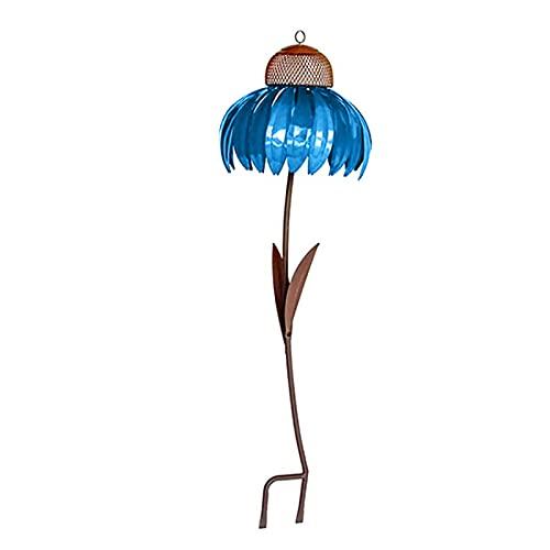Zyueer Vogelfütterer Für Vögel Mit Ständer Metall Futterstationen Für Wildvögel Garten Boden Fenster Balkon Balkongeländer Blume Futtersilo Mit Auffangschale Gartendeko Wetterfest 1pc