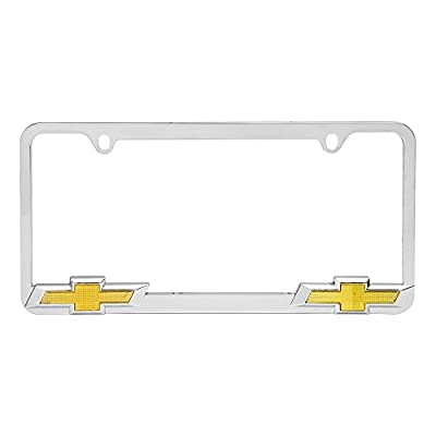 Bully WL011-C Chrome Chevy Chevrolet License Plate Frame Holder Front or Back Bumper Shows Car Tags - Exterior Accessories for Trucks, Cars and SUVs - 1 Piece Genuine Licensed Product