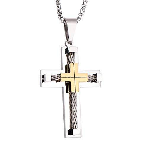 YL Kreuz Halskette Edelstahl mit 18 Karat Gold und Weißgold plattiert Jesus Christus Anhänger Halskette für Herren, 60 cm Runde Kastenkette