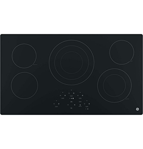 GE JP5036DJBB 36 Inch Smoothtop Electric Cooktop with 5 Radiant Elements, Center Tri-Ring Burner, Digital Touch Controls, Built-in Kitchen Timer, Keep Warm, Melt Setting, ADA Compliant Fits Guarantee
