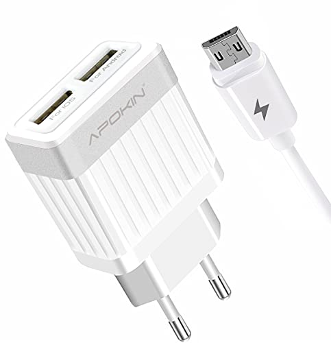APOKIN® Cargador Micro USB Carga Rápida Doble USB 2.1A Adaptador de Carga USB 3.0 Cargador Compatible Samsung iPhone iPad Huawei Xiaomi OPPO Realme LG TCL Vivo iPad