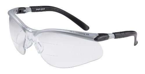 3M Safety Glasses, BX Dual Readers, +2.5, ANSI Z87, Anti-Fog Clear Lens, Silver/Black Frame, Adjustable Length Temples and Lens Angle