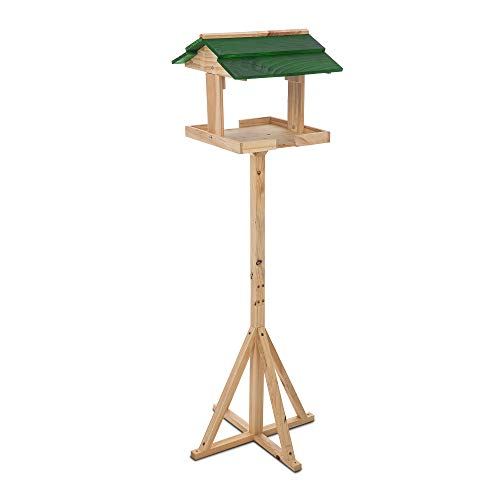 Petlicity Traditional Wooden Bird Table Garden Birds Feeder Feeding Station Free Standing Feeding Table Station Bird House