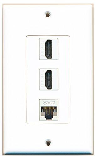 RiteAV - 2 HDMI and 1 Cat5e White Ethernet Port Wall Plate Decorative - White