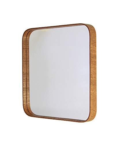 Espelho Quadrado Com Moldura De Madeira Formacril Mogno Base 0862 Mg