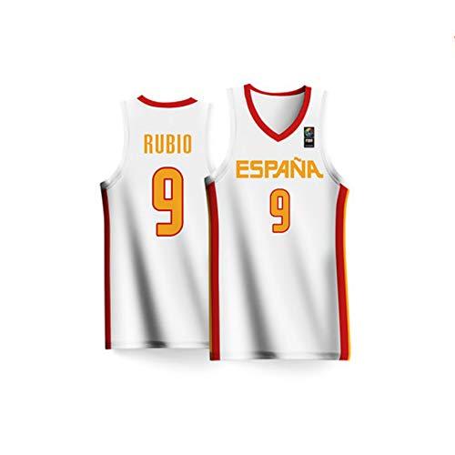 BALL-WHJ Transpirable Unisex 2019 Copa Mundial De Baloncesto España Rubio # 9 Jersey Traje De Competición Nacional Jersey Jersey De Baloncesto Cómodo,M:170~175cm(60~70kg)