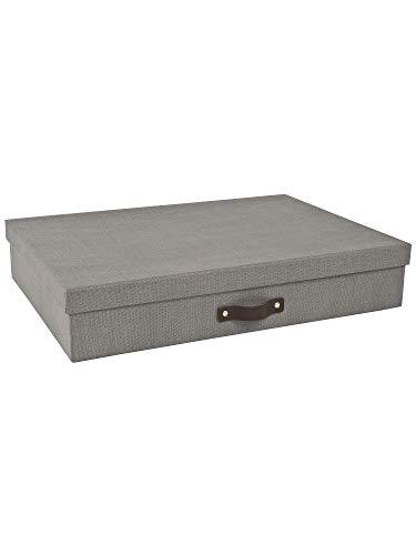 Bigso Box of Sweden Dokumentenbox für Unterlagen im A3-Format – Schreibtischablage mit Deckel und Griff – Aufbewahrungsbox aus Faserplatte und Papier in Leinenoptik – grau